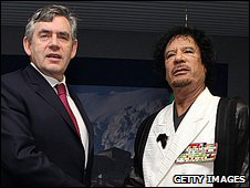 Gordon Brown and Muammar Gaddafi