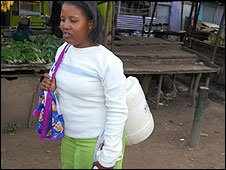 A Nairobi resident looking for water