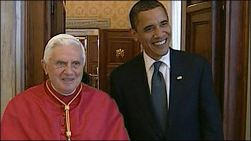 Pope Benedict XVI with Barack Obama
