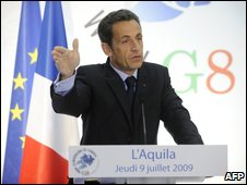 French President Nicolas Sarkozy speaking to reporters in L'Aquila, 10 July