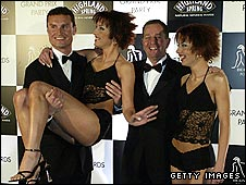 David Coulthard and Martin Brundle mix with The Cheeky Girls