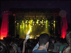 Exit festival at night