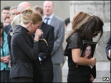 Mourners at the funeral of Dr Jane Deasy in Dublin, 10 July