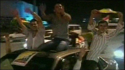 Fans celebrating the Iraqi win