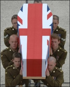 Body of Private Robert Laws being repatriated at RAF Lyneham