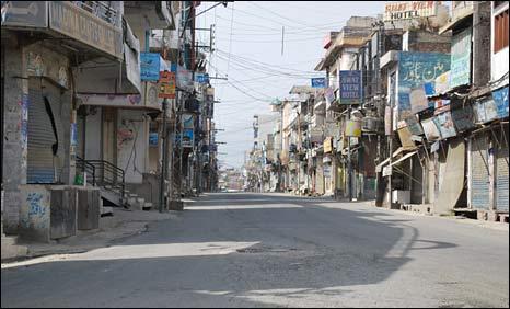 Empty street in Mingora, 9 July 2009