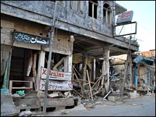 Damaged building in Mingora, 9 July 2009