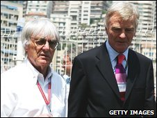 Bernie Ecclestone (left) and Max Mosley (right)
