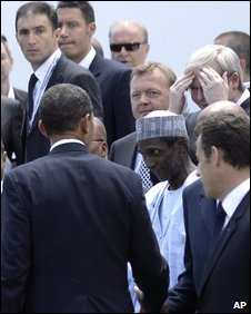 Barack Obama (left) meets African leaders and others