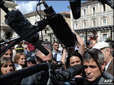 George Clooney in L'Aquila