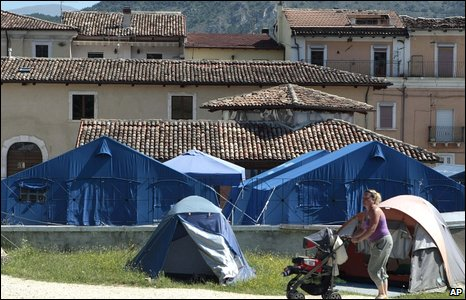 Tent camp on outskirts of L'Aquila for people displaced by the earthquake
