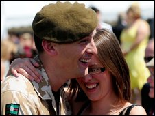 Pte Mark Brook and his girlfriend  Stephanie Caterer at the ceremony