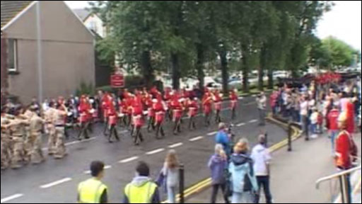 The regiment marches through Swansea cityc entre