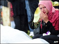 A woman weeps at Srebrenica, 11 July 2009