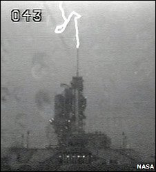 Lightning hits the Endeavour lauch pad area (10 July 2009)