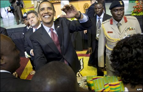 Barack Obama shakes hands after addressing Ghana's parliament in Accra, 11 July