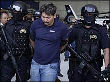 Arrested suspected drugs boss Arnoldo Rueda 11 July 2009