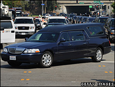 The hearse carrying Michael Jackson's coffin