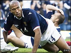 Chris Iwelumo looks on in despair against Norway