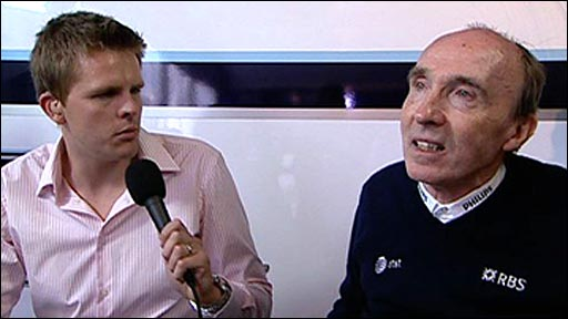 BBC Sport's Jake Humphrey and team principal Sir Frank Williams