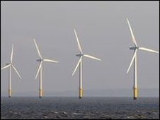 Wind turbines near the Mersey