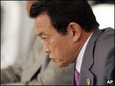 Taro Aso in L'Aquila, Italy on 10 July