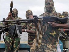 Mend fighters in the Niger Delta, Nigeria (file image)