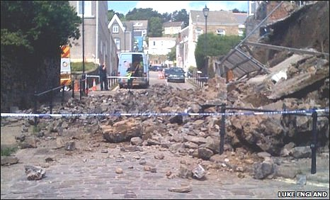 Collapsed wall in Constitution Hill, Swansea. Picture: Luke England