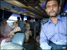 Pakistani displaced family in a bus ready to return to their villages from Jalozai Internal Displaced camp near Peshawar, Pakistan, Monday, July 13, 2009