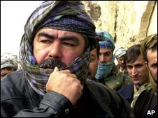 Afghan warlord Gen Abdul Rashid Dostum after his troops defeated pro-Taliban forces at a fortress near his stronghold of Mazar-e-Sharif in northern Afghanistan, on 28 November 2001