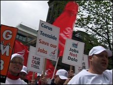 Corus Steelworkers march to save their jobs.