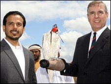 The sheikh presents Prince Andrew with the bird of prey