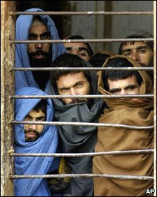 Prisoners at Sheberghan prison in January 2002