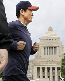 Taro Aso goes jogging around the Diet building in Tokyo