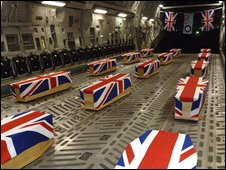 Remains of 14 British servicemen killed in a Nimrod aircraft which crashed in Afghanistan in 2006 being flown back to the UK