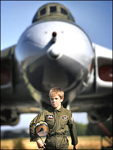 Andrew Hunter from Edinburgh poses in front of the National Museum of Flight�s Avro Vulcan Bomber exhibit