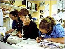 Hospital nurses and clerk