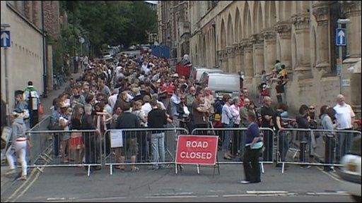 Queue for the Banksy exhibition in Bristol
