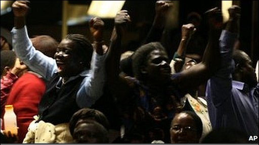 Mugabe supporters in Harare conference hall, 13/07