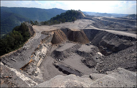 A mountaintop removal mine in West Virginia