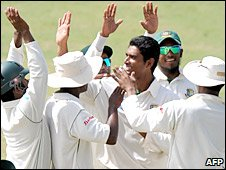 Mahmudullah celebrates dismissing West Indies skipper Floyd Reifer