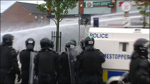 Riot police in north Belfast