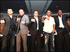 Froch (left) with Kessler, Abraham, Dirrell and Taylor