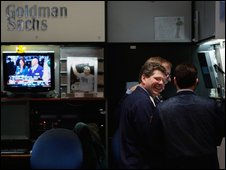 Goldman Sachs booth at the New York Stock Exchange