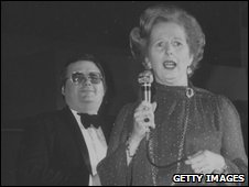 Thatcher speaks into microphone at the Tory conference in 1980