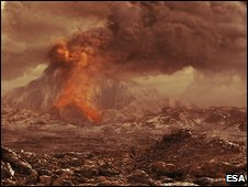 Artist's impression of a volcano on Venus (Esa)