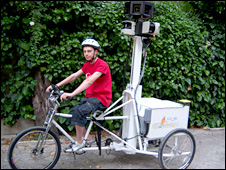Google trike and rider