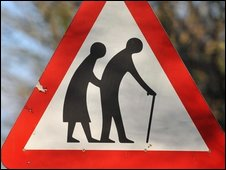 Road sign for elderly pedestrian
