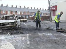 Council workers clean up following the riots