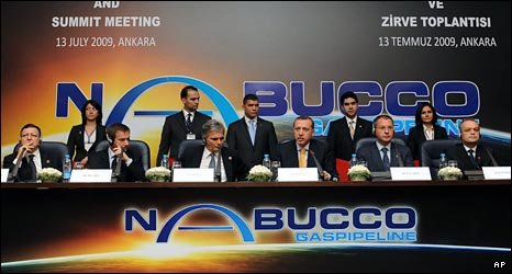From left: European Commission President Jose Manuel Barroso, prime ministers Gordon Bajnai (Hungary), Werner Faymann (Austria), Recep Tayyip Erdogan (Turkey), Sergei Stanishev (Bulgaria), Emil Boc (Romania)